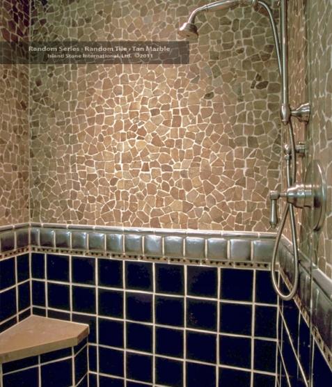 18x18 Tile In Small Bathroom: Random Large Tan Marble 18x18